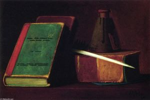 John Frederick Peto - Still LIfe with Books and Inkwell