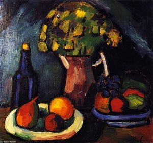 Alexej Georgewitsch Von Jawlensky - Still LIfe with Bouquet, Fruit Bowls and Bottle