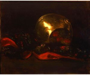 Abbott Handerson Thayer - Still Life with Brass Vase and Kimono