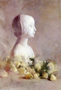 Soren Emil Carlsen - Still Life with Bust and White Roses
