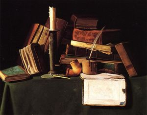 John Frederick Peto - Still Life with Candle, Pipe and Books