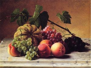 George Hetzel - Still Life with Cantaloupe, Grapes and Peaches