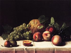 George Hetzel - Still Life with Cantaloupe, Peaches and Grapes