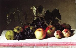 George Hetzel - Still Life with Concord Grapes and Apples