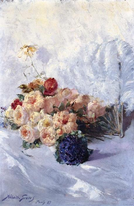 Buy Museum Art Reproductions | Still Life with Flowers and Fan, 1887 by Abbott Fuller Graves (1859-1936, United States) | WahooArt.com