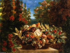 Eugène Delacroix - Still Life with Flowers and Fruit