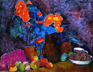 Alexej Georgewitsch Von Jawlensky - Still LIfe with Flowers, Fruit and Bottle