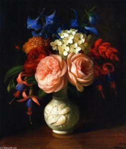 George Henry Hall - Still LIfe with Flowers: Red Roses