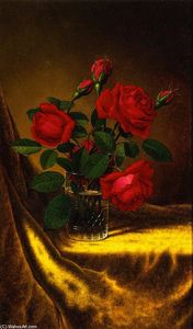 Martin Johnson Heade - Still LIfe with Flowers: Red Roses