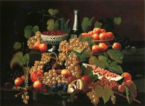 Severin Roesen - Still Life with Fruit and Champagne