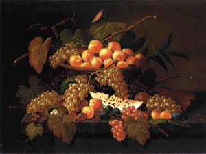 Severin Roesen - Still Life with Fruit and Nest