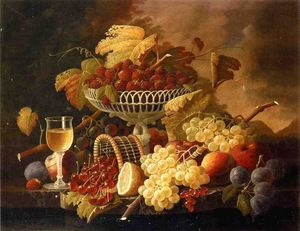 Severin Roesen - Still Life with Fruit and Wine Glass