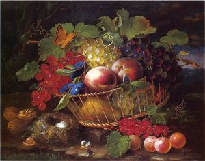George Forster - Still Life with Fruit, Butterflies and Bird's Nest