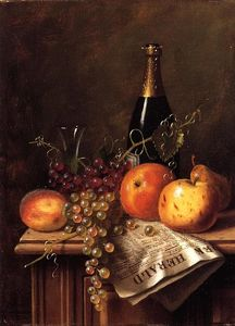 William Michael Harnett - Still Life with Fruit, Champagne Bottle and Newspaper