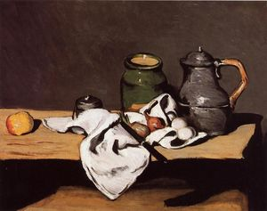 Paul Cezanne - Still Life with Green Pot and Pewter Jug