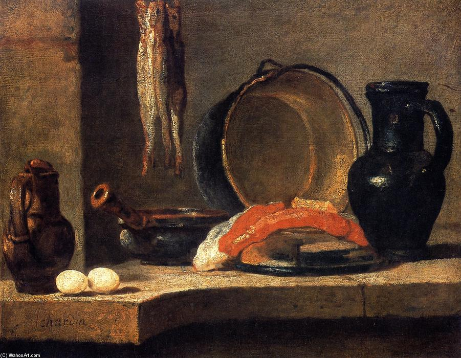 Still Life with Herrings, 1731 by Jean-Baptiste Simeon Chardin (1699-1779, France) | Paintings Reproductions Jean-Baptiste Simeon Chardin | WahooArt.com