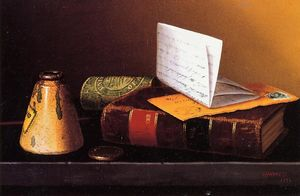 William Michael Harnett - Still Life with Ink Bottle, Book and Letter (also known as Still Life with Universal Gazetteer)
