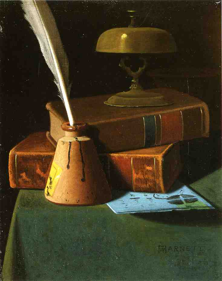 Still Life with Inkwell, Quill and Books by John Frederick Peto (1854-1907, United States) | Museum Quality Reproductions | WahooArt.com