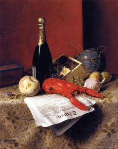 William Michael Harnett - Still Life with Lobster, Fruit, Champagne and Newspaper