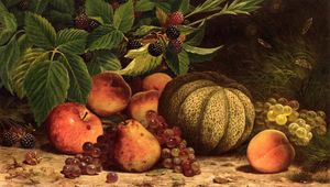 William Mason Brown - Still Life with Melon, Grapes, Peaches, Pears and Black Raspberries