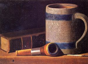 John Frederick Peto - Still Life with Mug, Pipe and Book