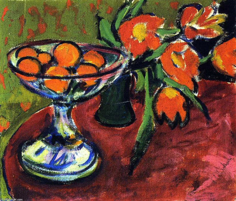 Still LIfe with Oranges and Tulips, Oil On Canvas by Ernst Ludwig Kirchner (1880-1938, Germany)