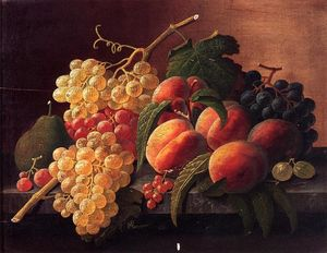 Severin Roesen - Still Life with Peaches, Grapes and a Pear