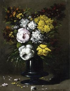 Théodule Augustin Ribot - Still Life with Peonies