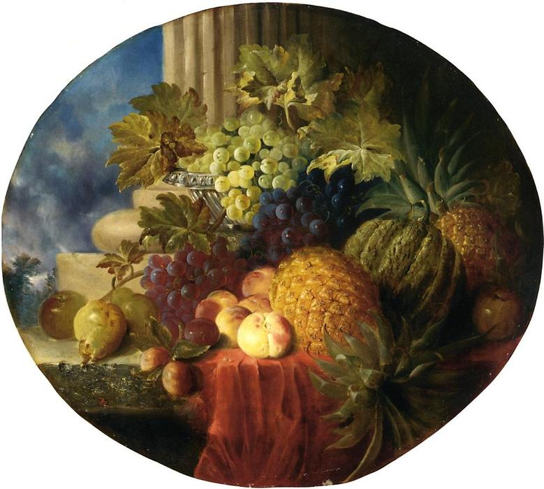 Still Life with Pineapple and Grapes, Oil On Canvas by Charles Caryl Coleman (1840-1928, United States)