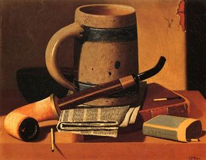 John Frederick Peto - Still Life with Pipe, Beer Stein, Newspaper, Book and Matches