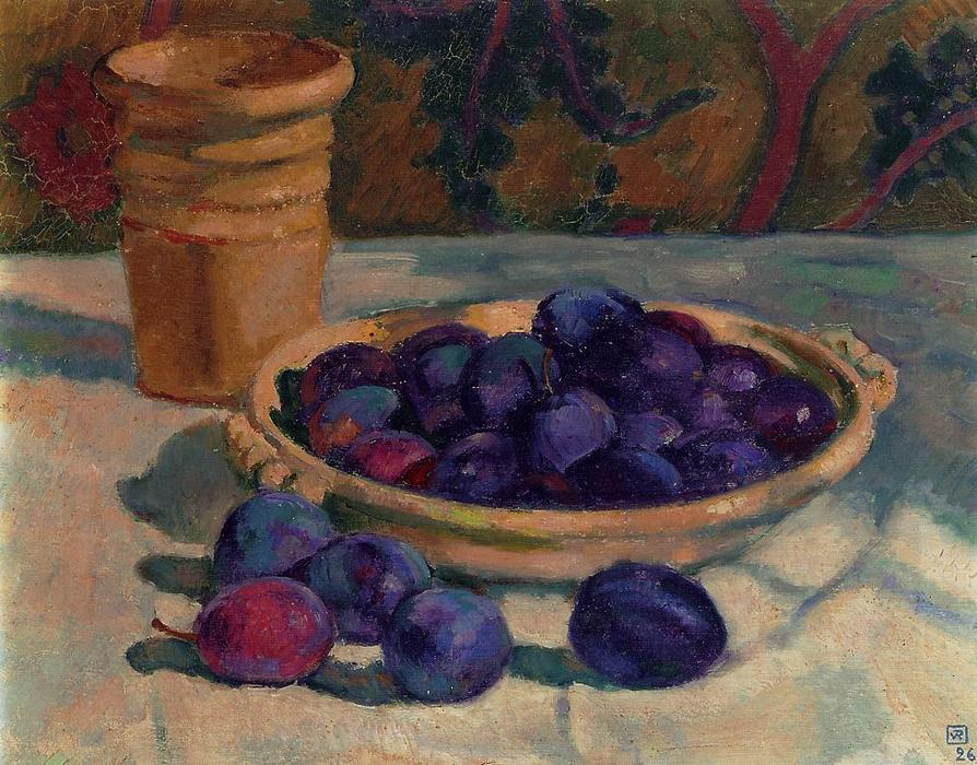 Still Life with Plums, Oil On Canvas by Theo Van Rysselberghe (1862-1926, Belgium)