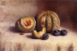 Joseph Decker - Still Life with Plums and Melons