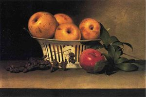 Raphaelle Peale - Still Life with Raisins, Yellow and Red Apples in Porcelain Basket