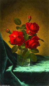 Martin Johnson Heade - Still LIfe with Red Roses