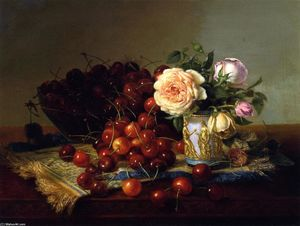 Robert Spear Dunning - Still LIfe with Roses and Cherries