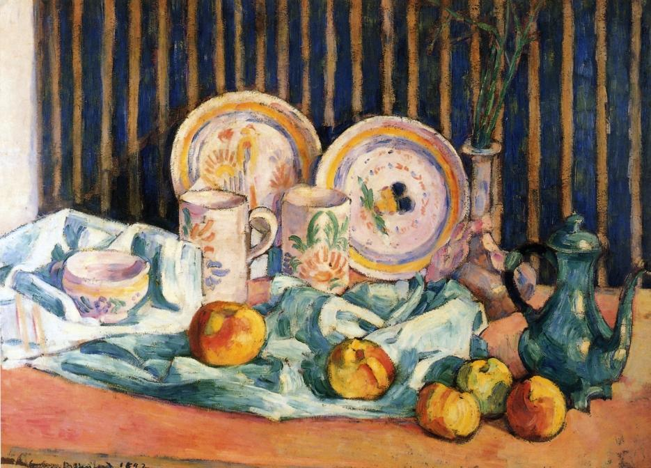 Still Life with Teapot, Apples and Dishes, Oil On Panel by Emile Bernard (1868-1941, France)
