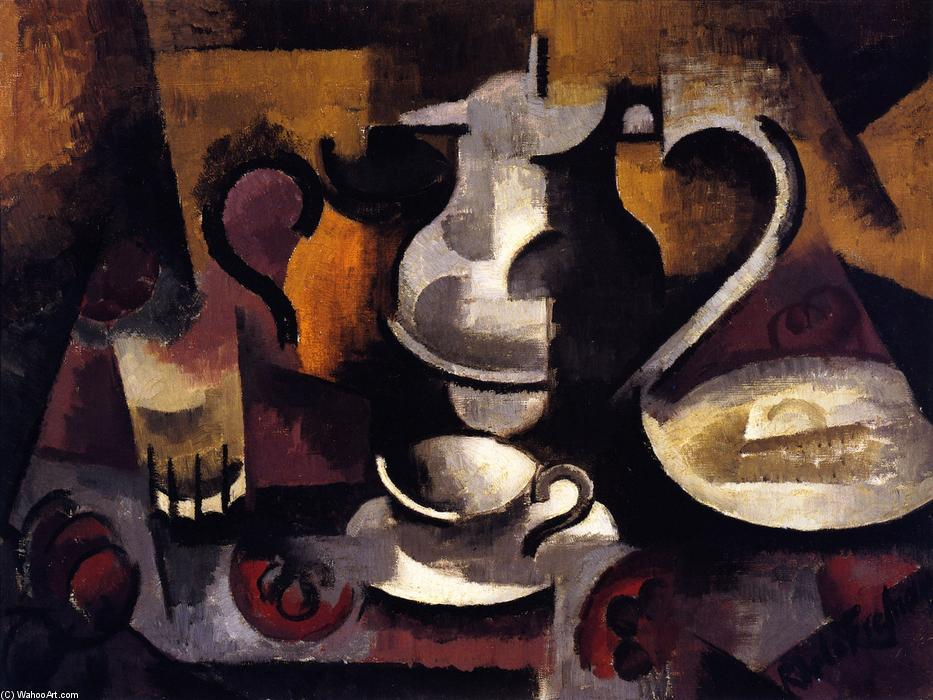 Still Life with Three Handles, Oil On Canvas by Roger De La Fresnaye (1885-1925, France)