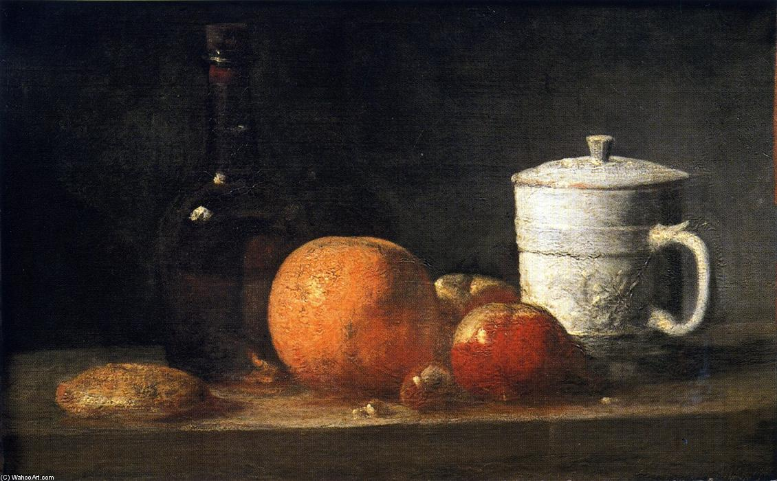 Order Paintings Reproductions | Still Life with Tin-Glazed Jar, Fruit and Bottle by Jean-Baptiste Simeon Chardin (1699-1779, France) | WahooArt.com
