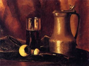 Roger De La Fresnaye - Still Life with Tin Pitcher, Pipe and Glass