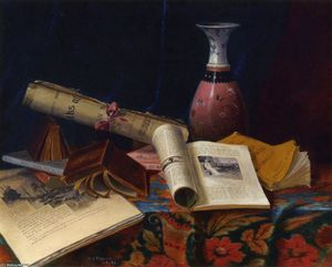Nicholas Alden Brooks - Still Life with Vase and Books