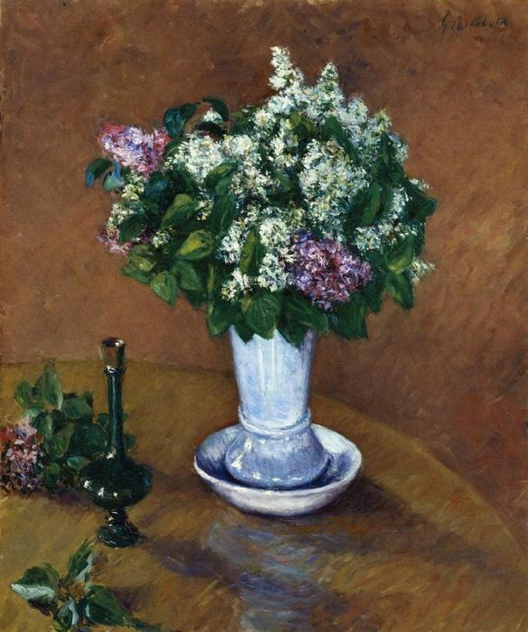 Still Life with a Vase of Lilacs, 1883 by Gustave Caillebotte (1848-1894, France) | WahooArt.com