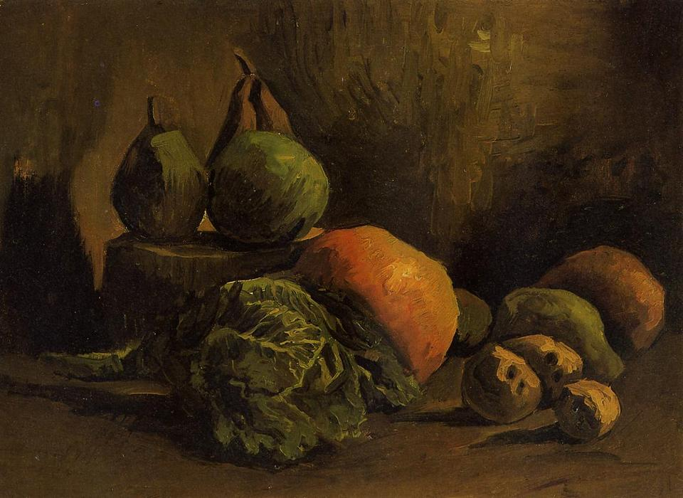Still Life with Vegetables and Fruit, 1885 by Vincent Van Gogh (1853-1890, Netherlands) | Museum Quality Copies Vincent Van Gogh | WahooArt.com