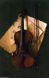 Nicholas Alden Brooks - Still Life with Violin, Bow and Sheet Music