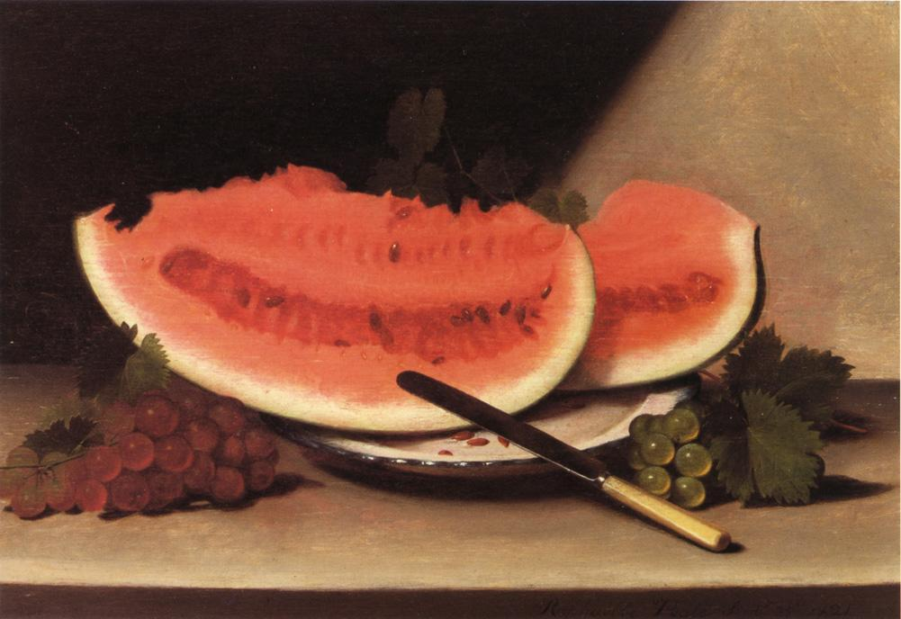Still Life with Watermelon, 1821 by Raphaelle Peale (1774-1825, United States) | Museum Quality Copies Raphaelle Peale | WahooArt.com
