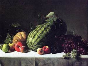 George Hetzel - Still Life with Watermelon, Cantaloupe and Grapes