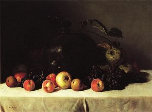 George Hetzel - Still Life with Watermelon, Grapes and Apples
