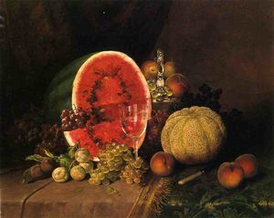 William Mason Brown - Still Life with Watermelon, Grapes, Peaches, Plums and Cantaloupe