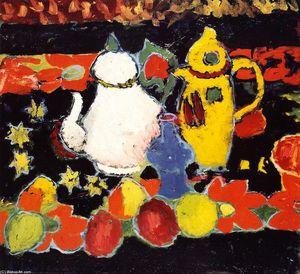 Alexej Georgewitsch Von Jawlensky - Still LIfe with Yellow Coffee Pot and White Tea Pot