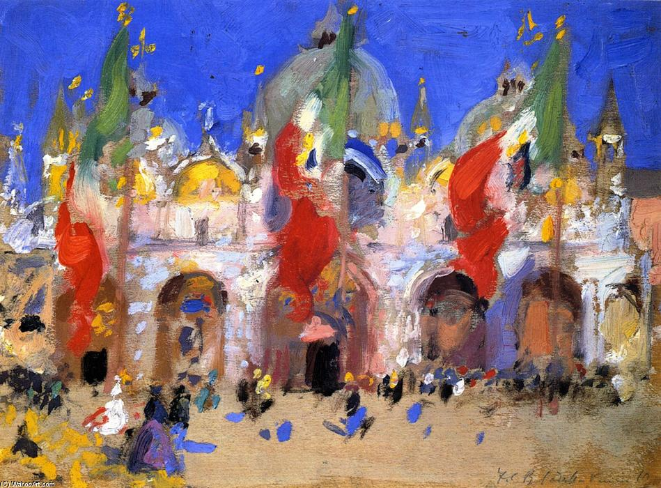 St. Mark's Square, Venice, Oil On Canvas by Francis Campbell Boileau Cadell (1883-1937)