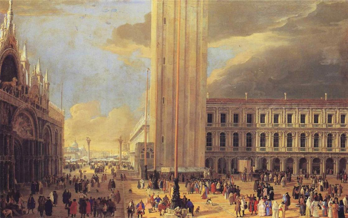 St. Mark`s Square with Charlatans by Luca Carlevaris (1663-1730, Italy) | Oil Painting | WahooArt.com